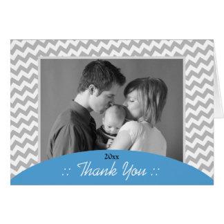 Chevron cinzento e obrigado azul da foto você cart cartão