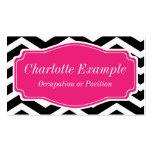 Chevron cor-de-rosa branco preto pessoal cartão de visita