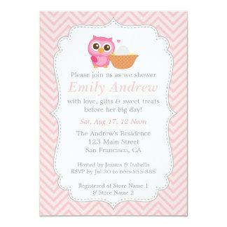 Chevron cor-de-rosa, chá de fraldas bonito da convites personalizado