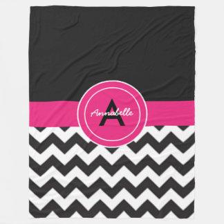 Chevron cor-de-rosa preto cobertor de lã