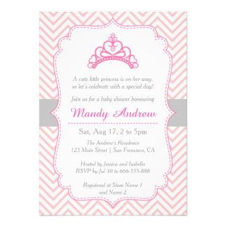 Chevron cor-de-rosa princesa Coroa chá de fralda