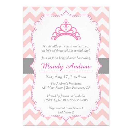 Chevron cor-de-rosa, princesa Coroa, chá de fralda Convites