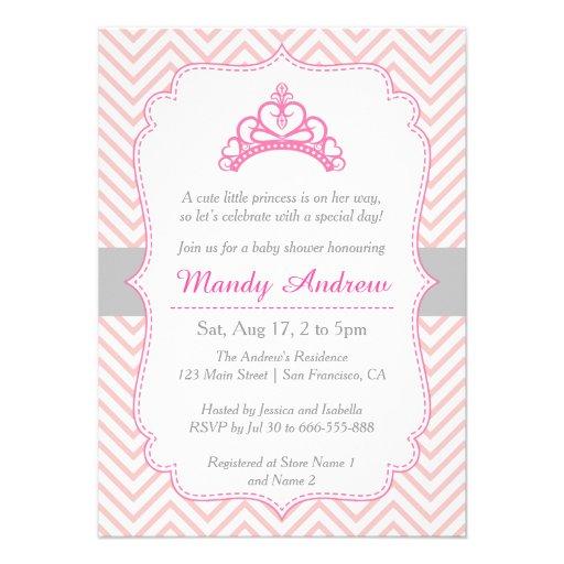 Chevron cor-de-rosa, princesa Coroa, chá de fralda Convite Personalizados