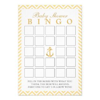 Chevron náutico listra cartões do Bingo do chá de  Convites Personalizados