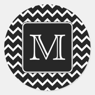 Chevron preto e branco com monograma feito sob adesivo