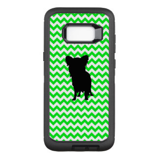 Chevron verde irlandês com silhueta de Yorkie Capa OtterBox Defender Para Samsung Galaxy S8+