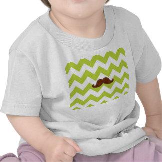 Chevron verde t-shirt da criança do bigode