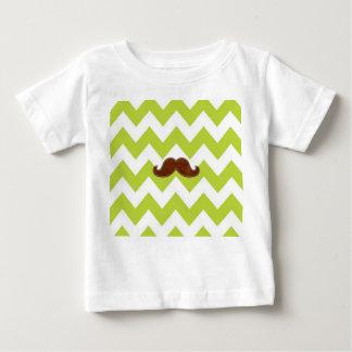 Chevron verde, t-shirt da criança do bigode