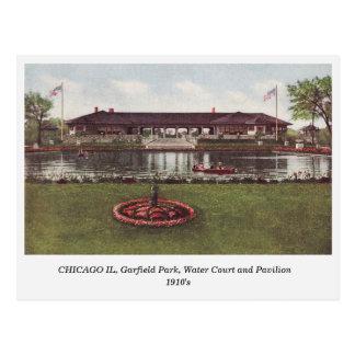 Chicago IL, parque de Garfield, cartão da corte da Cartão Postal