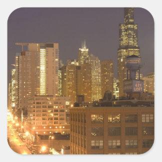Chicago, Illinois, skyline do laço ocidental em Adesivo Quadrado