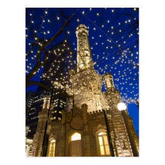 Chicago, Illinois, torre de água velha com feriado Cartoes Postais