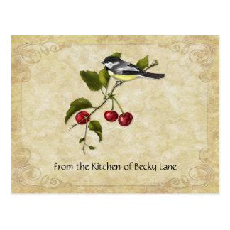 Chickadee em cartões da receita do ramo da cereja