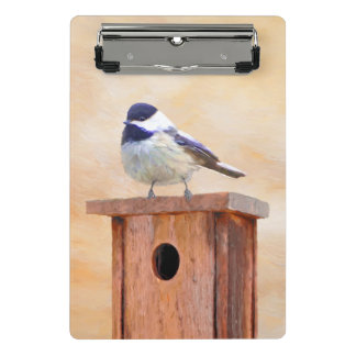 Chickadee no Birdhouse Mini Prancheta