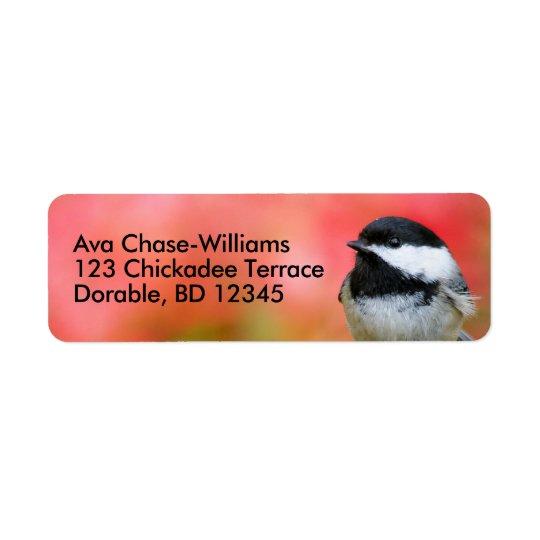 Chickadee Preto-Tampado bonito na árvore de Apple Etiqueta Endereço De Retorno