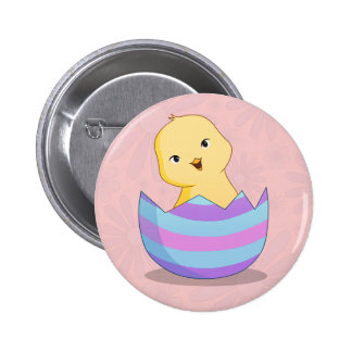 Chicky em um botão do ovo da páscoa bóton redondo 5.08cm