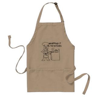 Chicoteando o no avental do padrão da cozinha