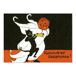Chifre do fantasma do gato preto da lanterna de convite 12.7 x 17.78cm