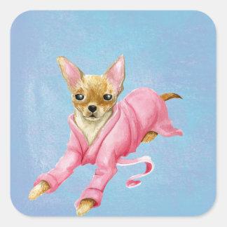 Chihuahua em etiquetas de um cão do Bathrobe