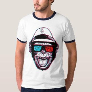 CHIMPANZÉ 3D do HIPSTER + VIDROS Camiseta