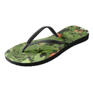 Chinelos A sola das sapatilhas com um teste padrão de