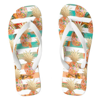 Chinelos Abacaxis de PixDezines Aloha+Listras