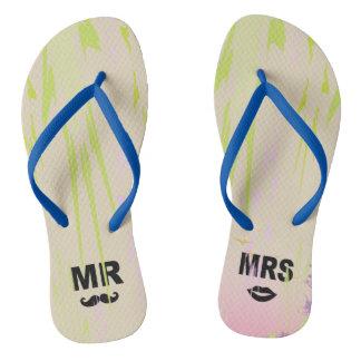 Chinelos Adulto do monograma de MR-MRS, flip-flops magros