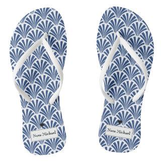 Chinelos azuis & brancos personalizados