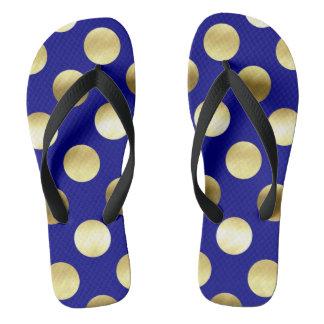 Chinelos Azuis marinhos elegantes das bolinhas da folha de