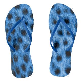 Chinelos Azul selvagem olhar manchado da pele da chita