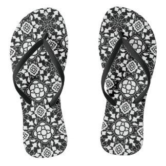 Chinelos Azulejo marroquino floral, preto e branco