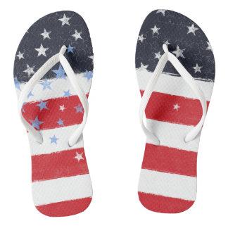 Chinelos Bandeira dos Estados Unidos patriótica do Grunge