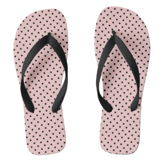 Chinelos Bolinhas pretas cor-de-rosa