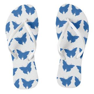 Chinelos Borboletas corajosas azuis da modificação da sarja