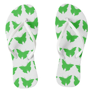 Chinelos Borboletas corajosas verdes da modificação