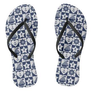Chinelos Branco náutico dos azuis marinhos checkered