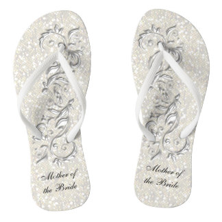 Chinelos Brilho metálico branco | floral & dos confetes que