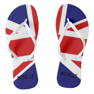 Chinelos britânicos da bandeira de Union Jack com