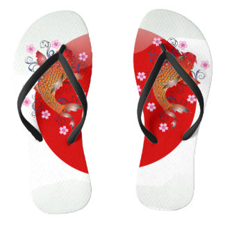 Chinelos Carpa lustrosa japonesa do koi da bandeira