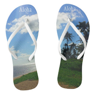 """Chinelos com imagem de Havaí+ & """"Aloha """""""