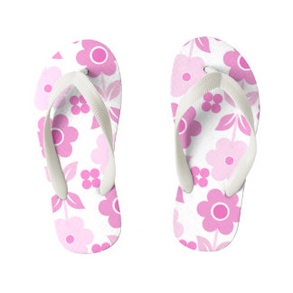 Chinelos cor-de-rosa retros dos miúdos das flores