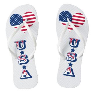 Chinelos Coração americano dos EUA da bandeira de América
