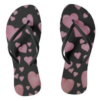 Chinelos Corações cor-de-rosa