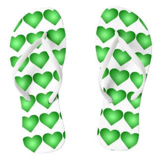 Chinelos Corações verdes do inclinação