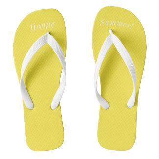 Chinelos Correia branca larga de W do amarelo contínuo