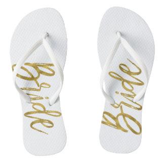 Chinelos da noiva com tipografia da folha de ouro