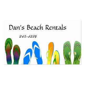 Chinelos da praia cartões de visita