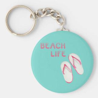 Chinelos da vida da praia chaveiro