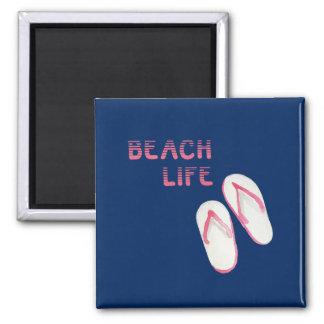 Chinelos da vida da praia ímã quadrado