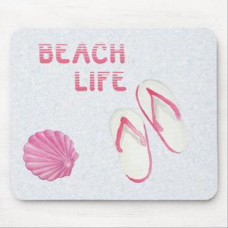 Chinelos da vida da praia mouse pad