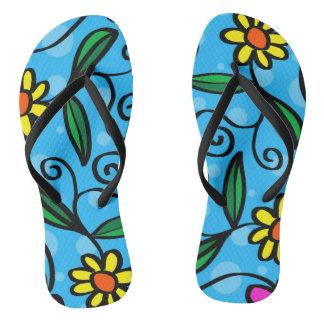 Chinelos Design azul da flor